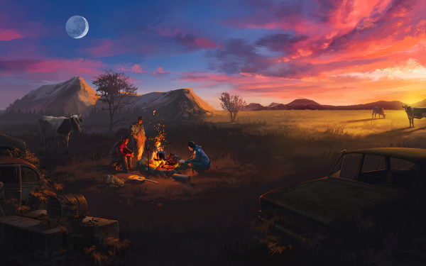 Video Game ATOM RPG Campfire HD Wallpaper | Background Image