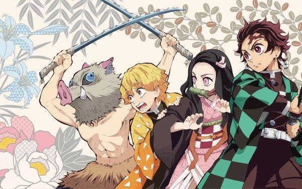 Anime Demon Slayer: Kimetsu no Yaiba Tanjiro Kamado Nezuko Kamado Zenitsu Agatsuma Inosuke Hashibira HD Wallpaper | Background Image