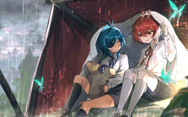 Videospel Genshin Impact Kaeya Diluc Regen Vlinder HD Wallpaper | Achtergrond