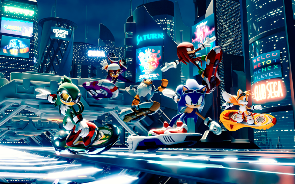 """Video Game Sonic Riders: Zero Gravity Sonic Miles """"Tails"""" Prower Sonic the Hedgehog Jet the Hawk Knuckles the Echidna Hoverboard Sonic Riders HD Wallpaper 
