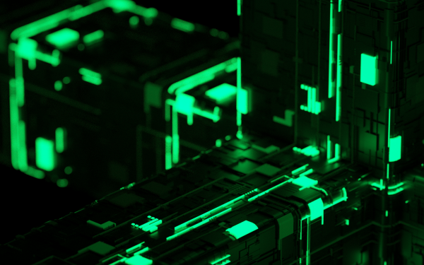 Abstract Cube Green Technology HD Wallpaper | Background Image