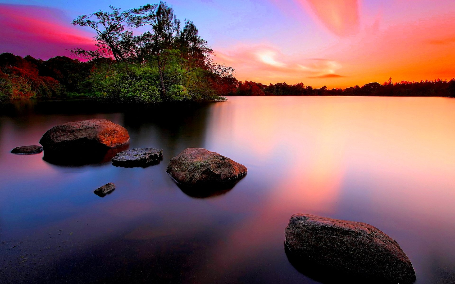 Earth - Scenic  Sunset Tree Rock Water Colorful Sky Wallpaper
