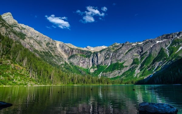 Earth Lake Lakes Landscape Mountain Cliff Shore Beach Forest HD Wallpaper | Background Image