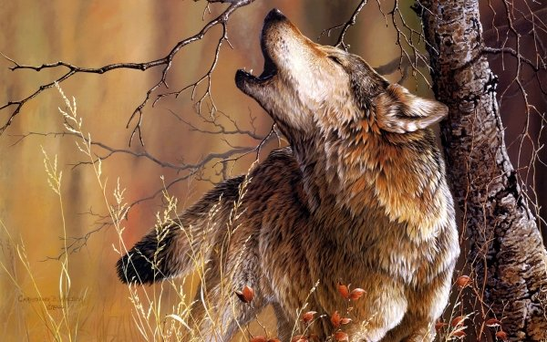 Animal Wolf Forest Wood Artistic Howling Painting HD Wallpaper | Background Image