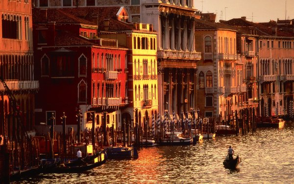 Man Made Building Buildings Venice Italy Canal Boat Gondola Architecture Scenic Place HD Wallpaper | Background Image