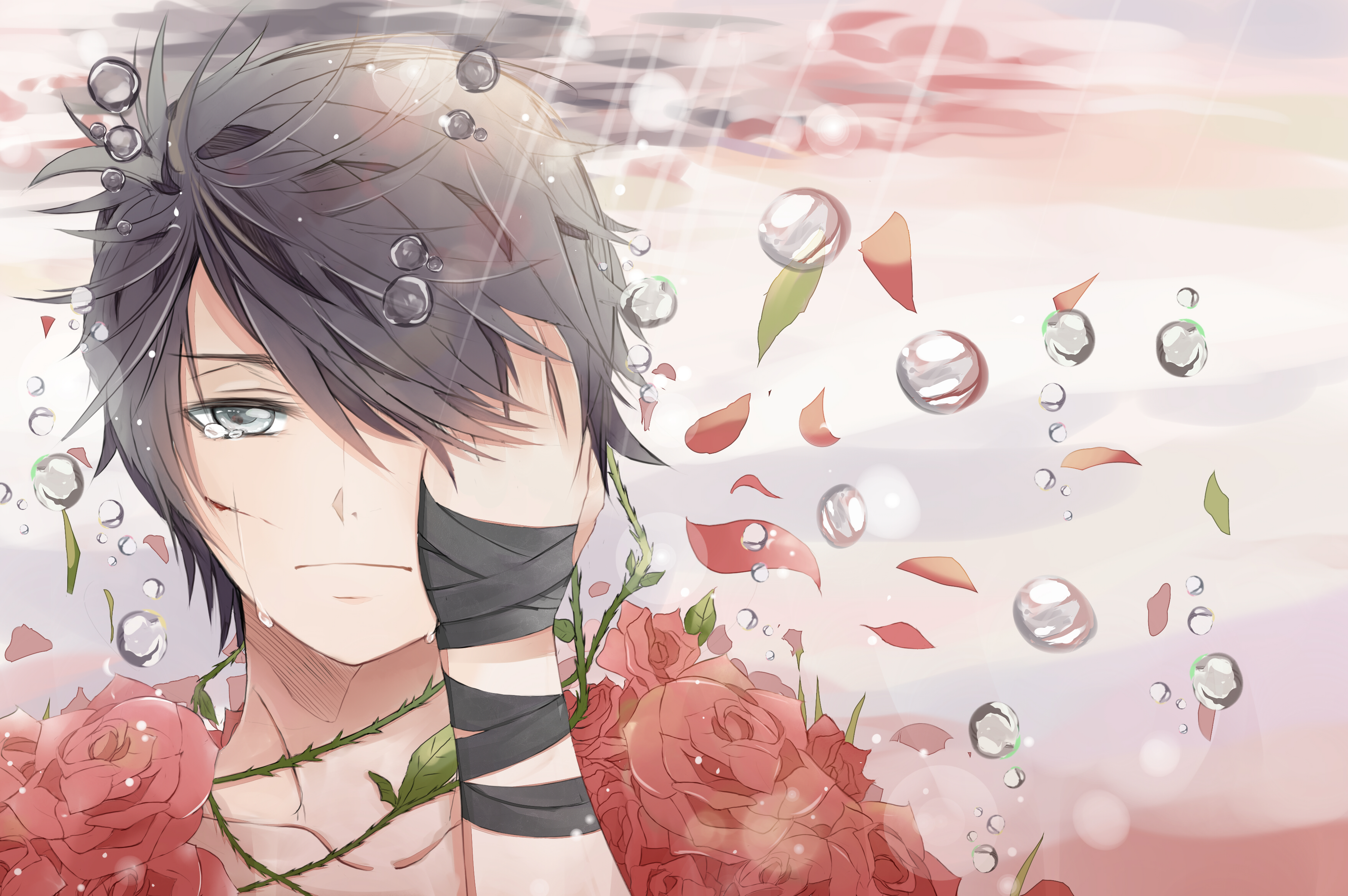 Pixiv id 3236596 full hd wallpaper and background image - Boy with rose wallpaper ...