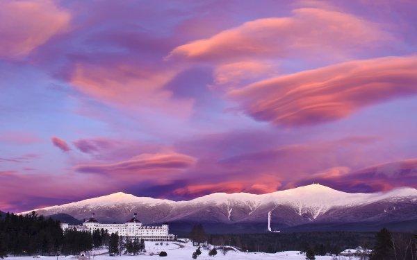 Man Made Mount Washington Hotel Winter Snow Resort Mountain Sky Cloud Sunset HD Wallpaper   Background Image
