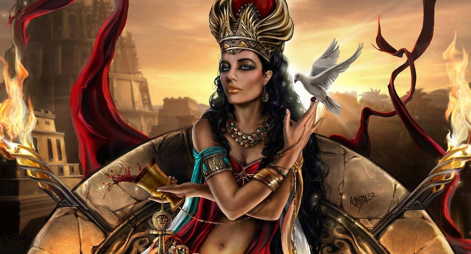 奇幻 - 神灵  艺术 God 女巫 CGI 数字艺术 摄影后期 奇幻 吸血鬼 Woman 皇后乐队 鸽子 首饰 壁纸