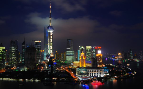 Man Made Shanghai Cities China City Night Oriental Pearl Tower HD Wallpaper | Background Image