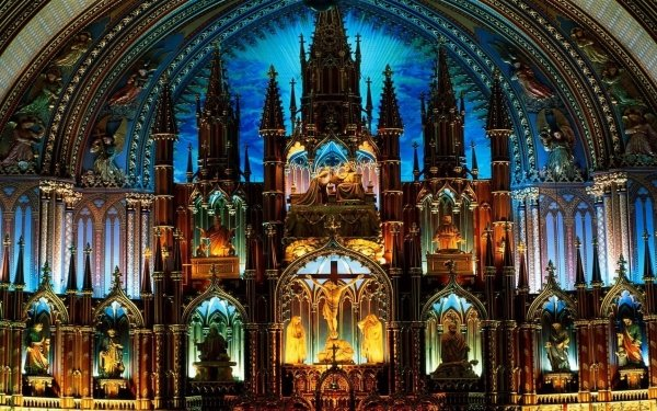Religious Notre-Dame Basilica (Montreal) Basilicas  Cathedral Church Interior Colorful Architecture Christian Religion Statue HD Wallpaper | Background Image