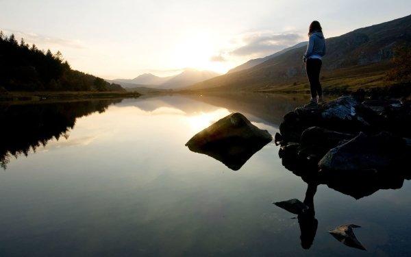 Women Mood Reflection Lake Scenic Sunrise Rear HD Wallpaper | Background Image