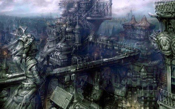 Dark Gothic City Sci Fi Futuristic Cyborg HD Wallpaper | Background Image