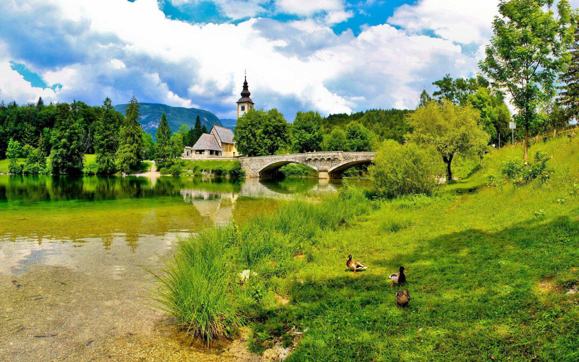 Religious - Architecture  Church Cathedral Landscape Scenic Bridge River Duck Wallpaper