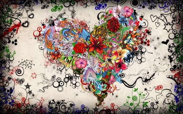 Artistic Heart Psychedelic Valentine's Day HD Wallpaper | Background Image
