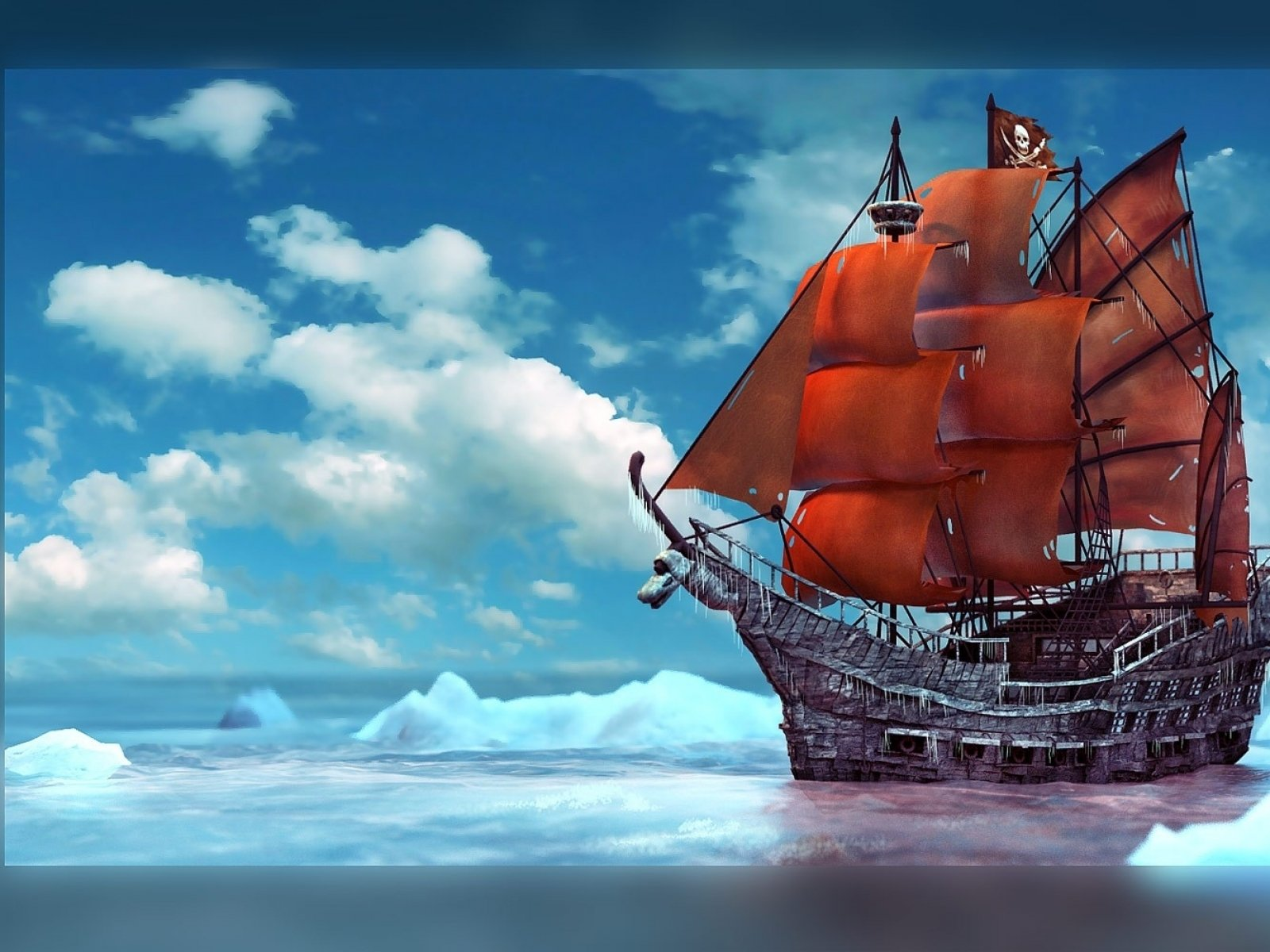 Fantasy ship cliff jolly roger pirate ship rock lightning wallpaper - Pirate Pirate Ship Hd Wallpaper Background Id 304125 1600x1200 Fantasy Pirate