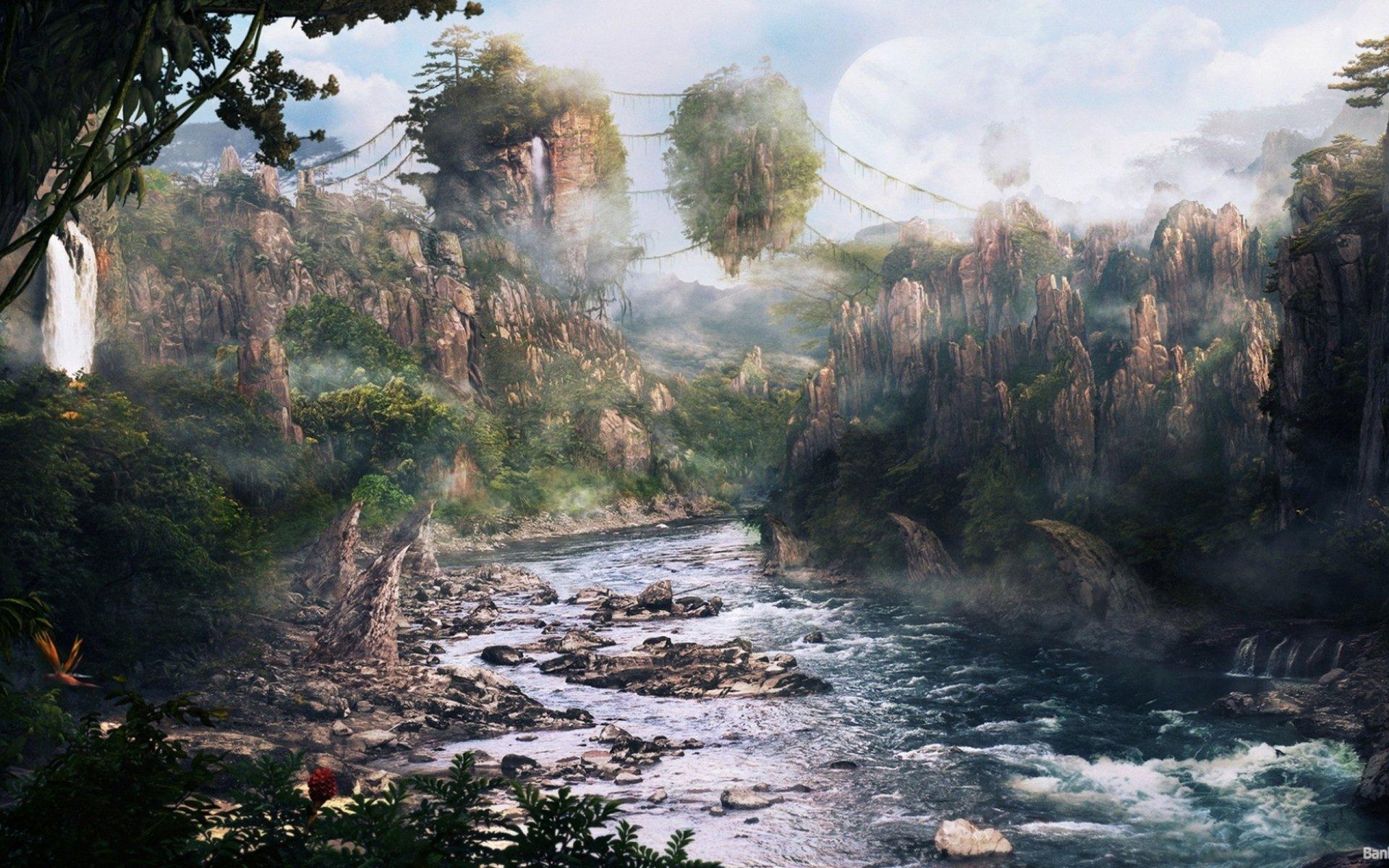 Movie - Avatar  Landscape Scenic Mountain Cliff Surreal Island River Wallpaper