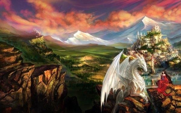 Fantaisie Dragon Paysage Elfe Ville Pierre Montagne Château Village Fond d'écran HD | Image