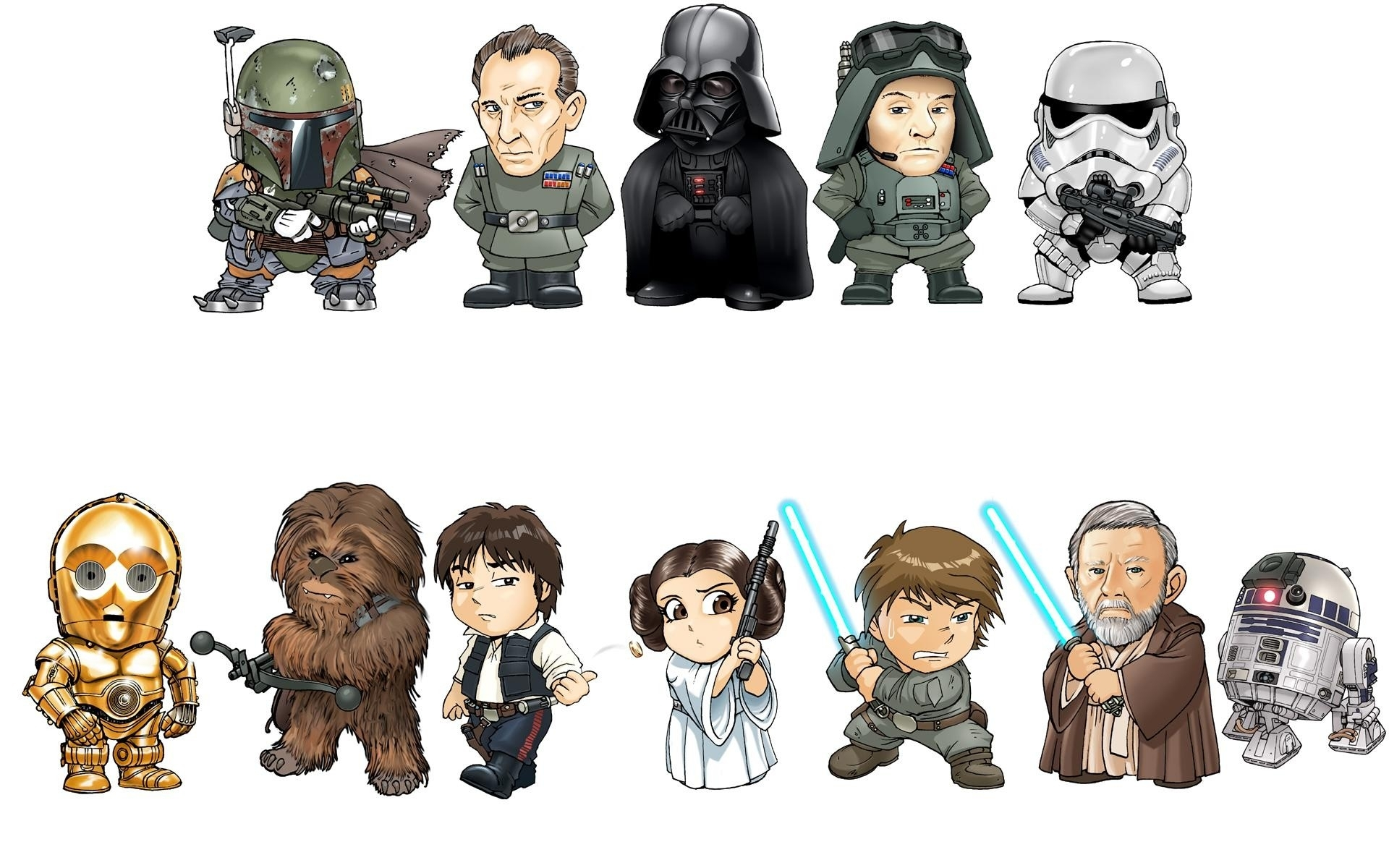 Star Wars Character Bobble Heads Hd Wallpaper Background Image 1920x1200 Id 306257 Wallpaper Abyss
