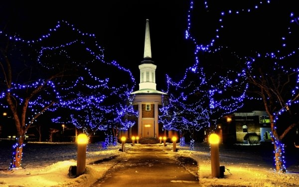 Photography Winter Snow Street Road Place Night Light Christmas Chapel Church HD Wallpaper | Background Image