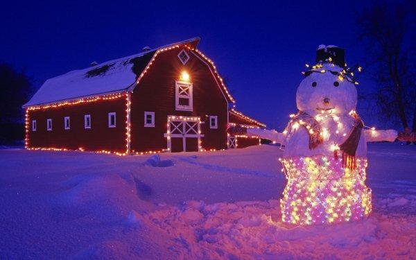 Holiday Christmas Winter Snow Snowman Christmas Lights Barn Night HD Wallpaper | Background Image