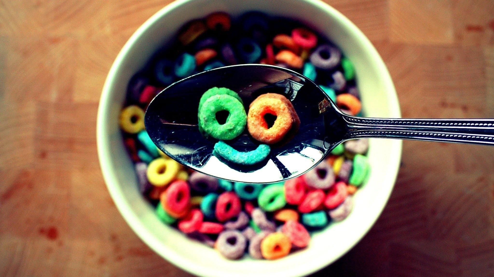 Happy Face Fruit Loops Cereal Hd Wallpaper Background