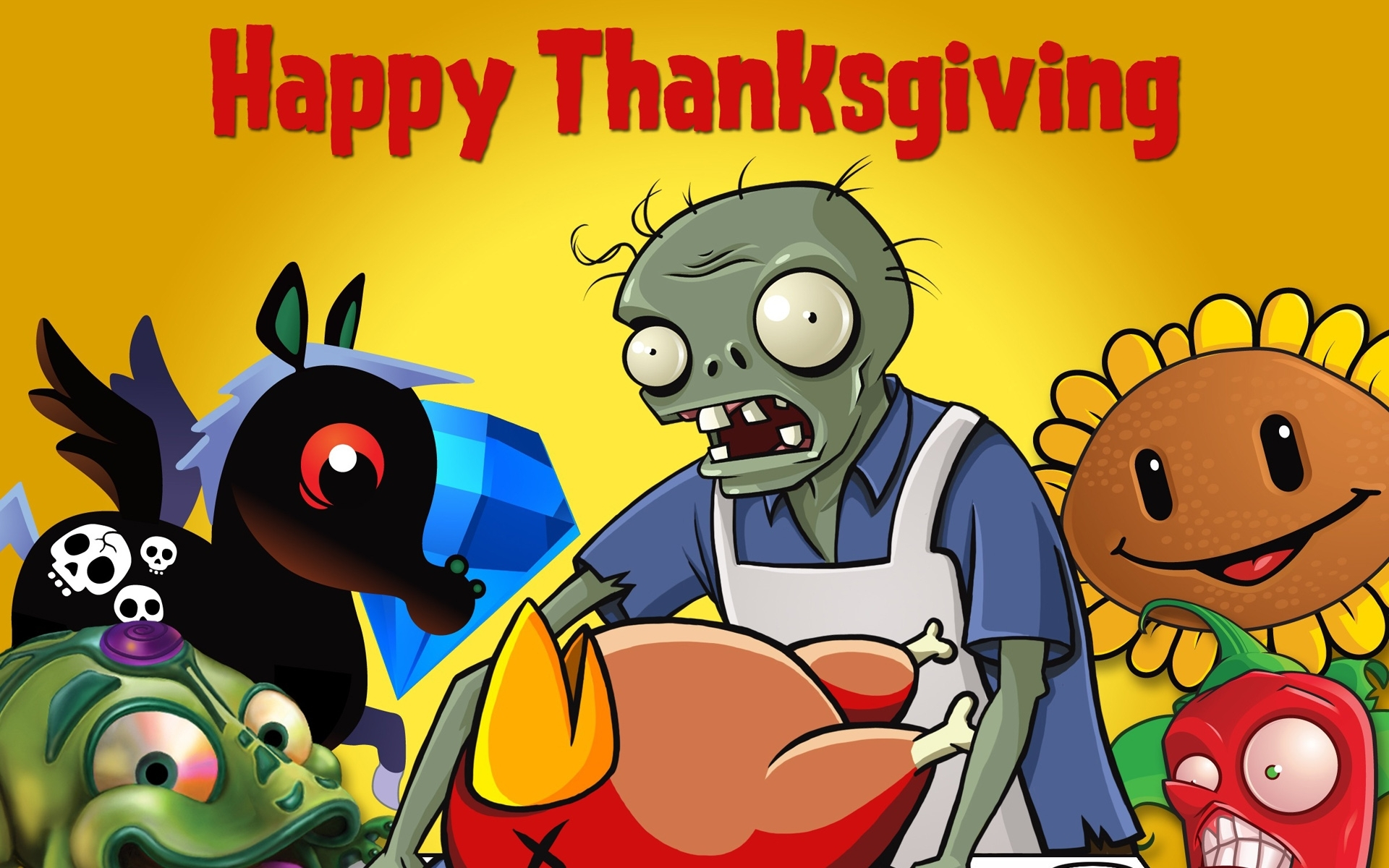 Holiday - Thanksgiving  - Plants Vs. Zombies - Game - Video Game Wallpaper