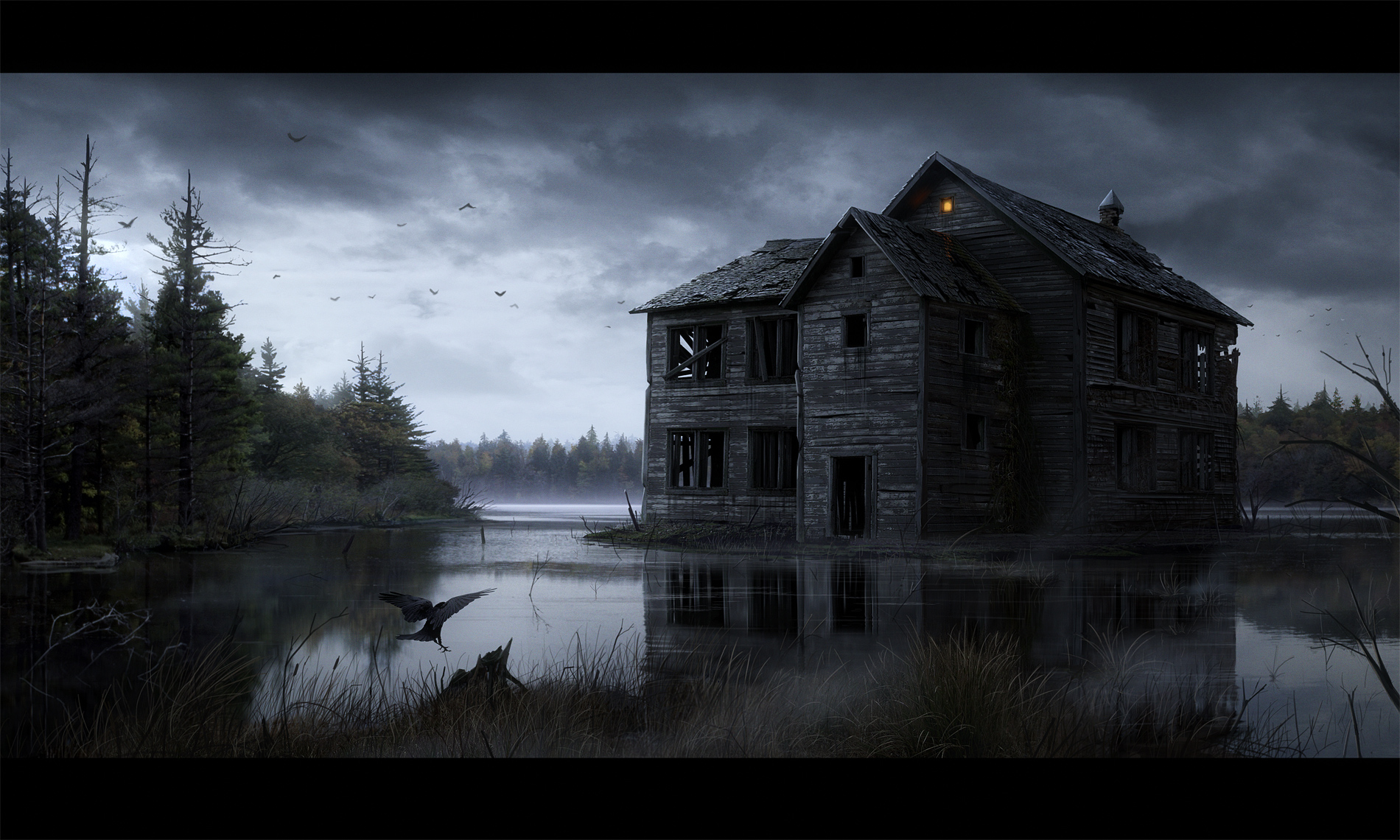 34 haunted house hd wallpapers background images for Wallpaper with houses on