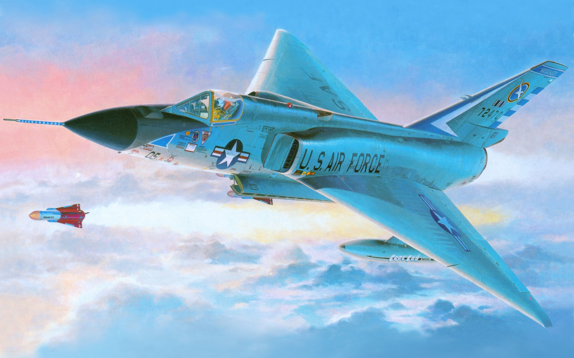 Military - Convair F-106 Delta Dart  Airplane Jet Fighter Fly Wallpaper