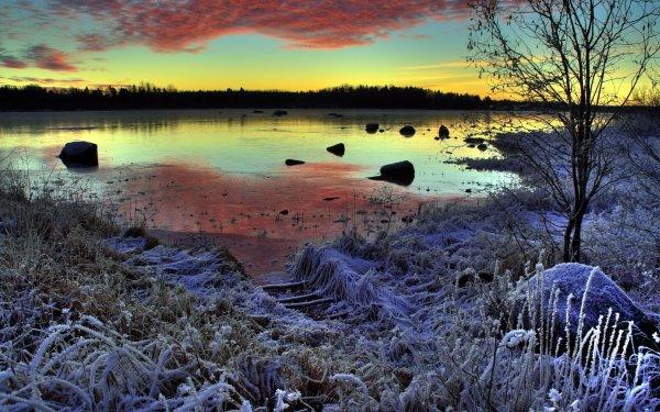 Earth Lake Lakes Season Nature Sunset Frost Winter HD Wallpaper | Background Image