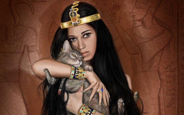 Fantasía Egyptian  Gato Oculto Fondo de pantalla HD | Fondo de Escritorio
