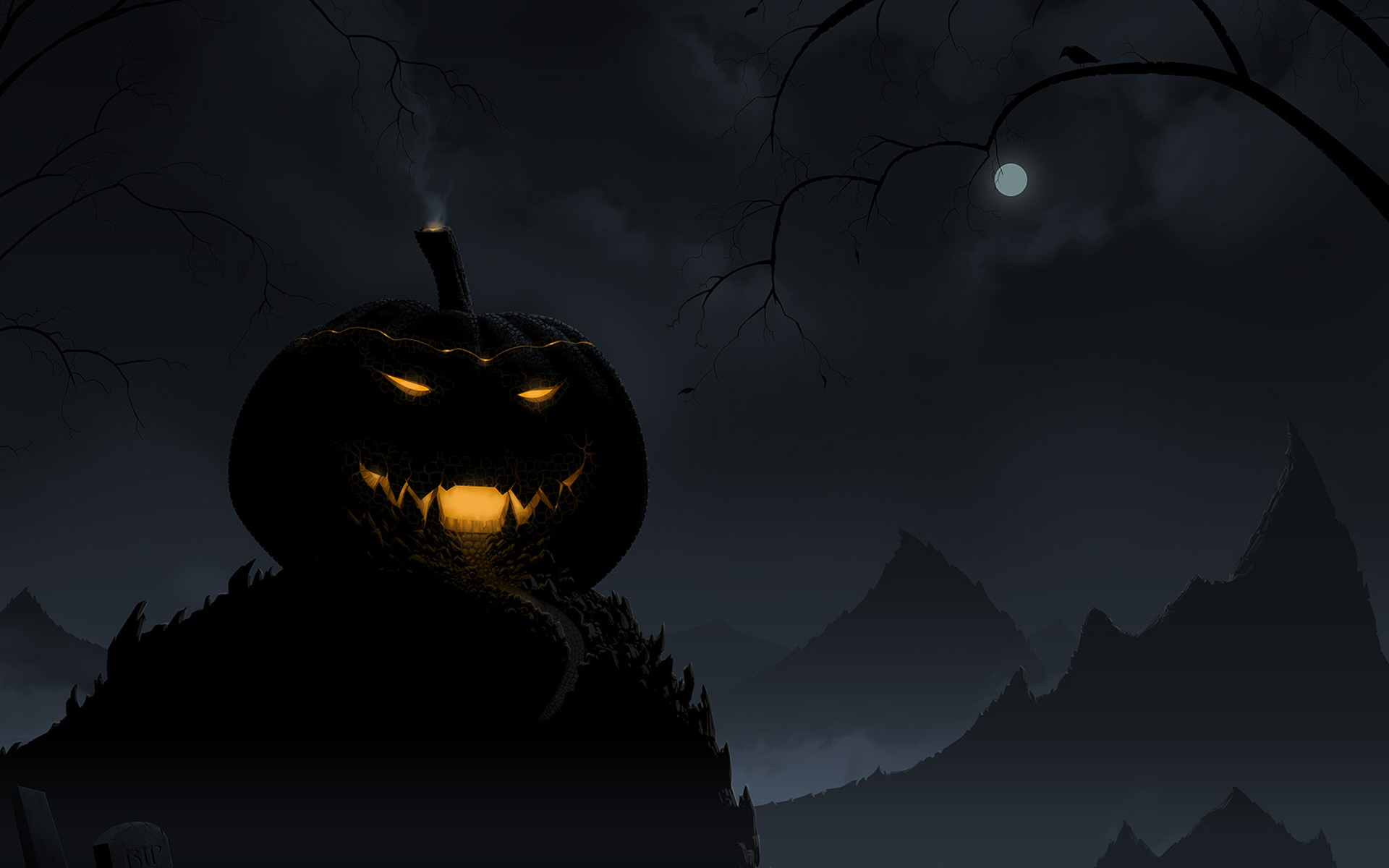 Attractive Holiday   Halloween Horror Creepy Spooky Scary Pumpkin Wallpaper