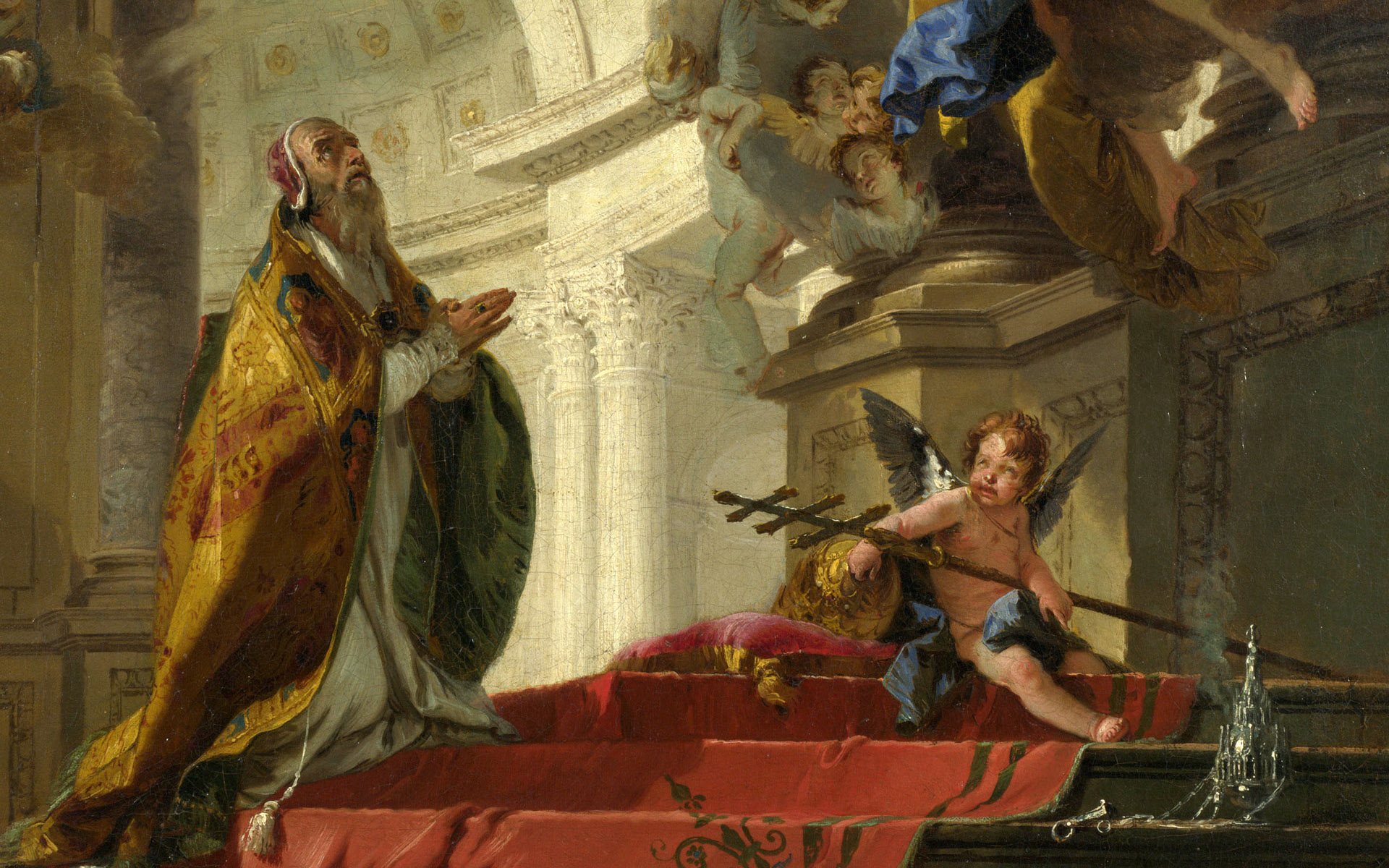 Pope st clement adoring the trinity full hd wallpaper and for Christian mural paintings