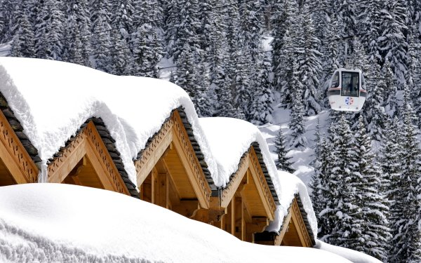 Photography Winter Resort Lodge House Snow Tram Forest Ski HD Wallpaper | Background Image
