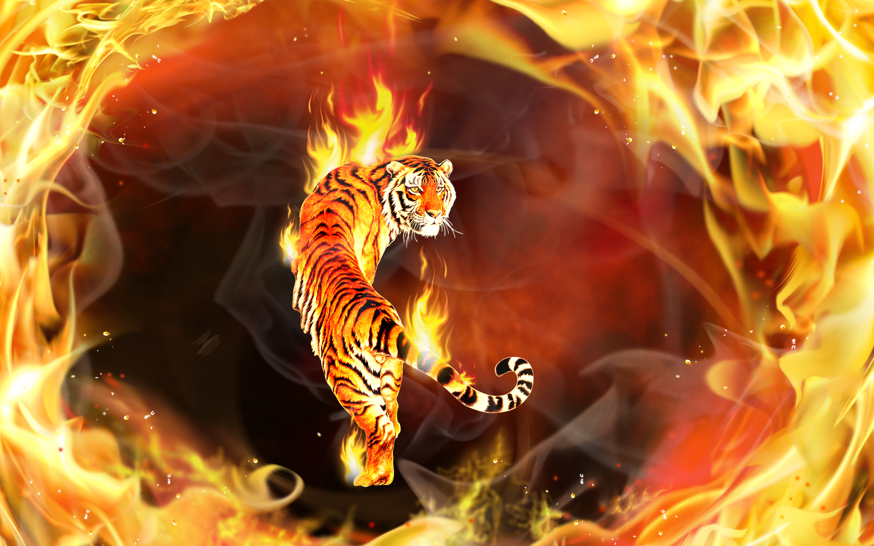 Delightful Fantasy   Tiger CGI Digital Art 3D Psychedelic Fire Flame Abstract Wallpaper