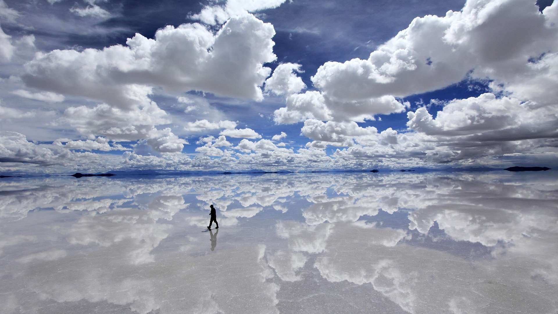 Photography - Reflection  Ocean Sea Beach Manipulation People Alone Scenic Sky Cloud Mood Wallpaper