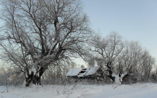 Photography Winter Snow Barn Ruin HD Wallpaper | Background Image