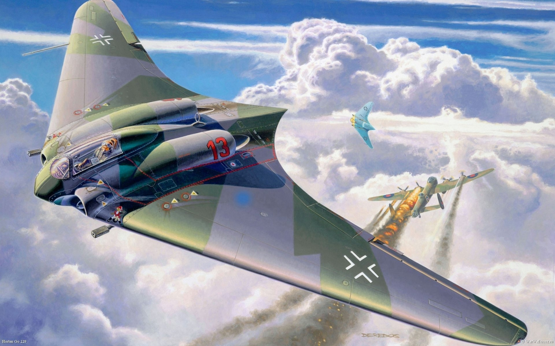 Military - Horten Ho 229  Airplane Jet Fighter Fly Air Force Aircraft Military Wallpaper