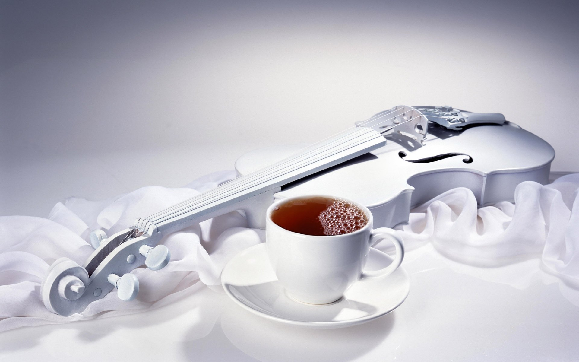 Photography - Still Life  Coffee Tea Mug Violin Music Wallpaper
