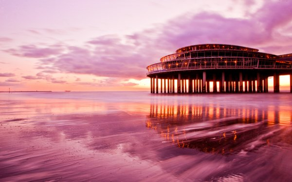 Man Made Pier Ocean Sea Casino Water Reflection Sunset Sunrise Sky Cloud HD Wallpaper | Background Image