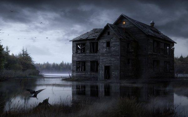 Dark House Building Lake HD Wallpaper | Background Image