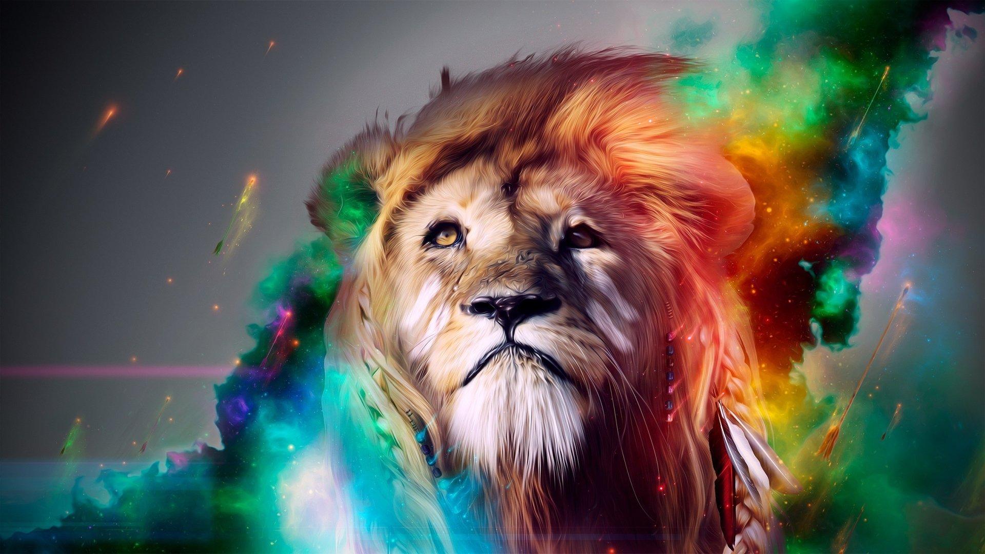 Animal - Lion  Animal Artistic Colorful Wallpaper