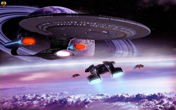 Sci Fi Star Trek Enterprise CGI 3D Starship Space Planet HD Wallpaper | Background Image