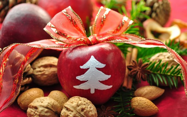 Holiday Christmas Apple Nut HD Wallpaper   Background Image