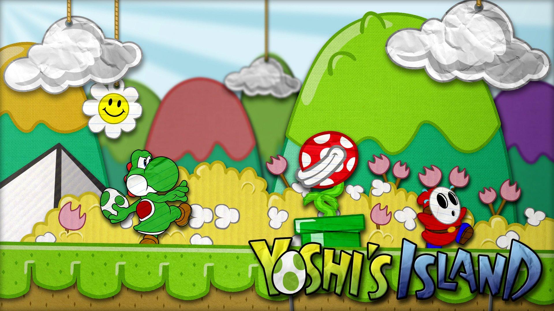 Datorspel - Super Mario World 2: Yoshi's Island  Yoshi Piranha Plant Shy Guy Bakgrund