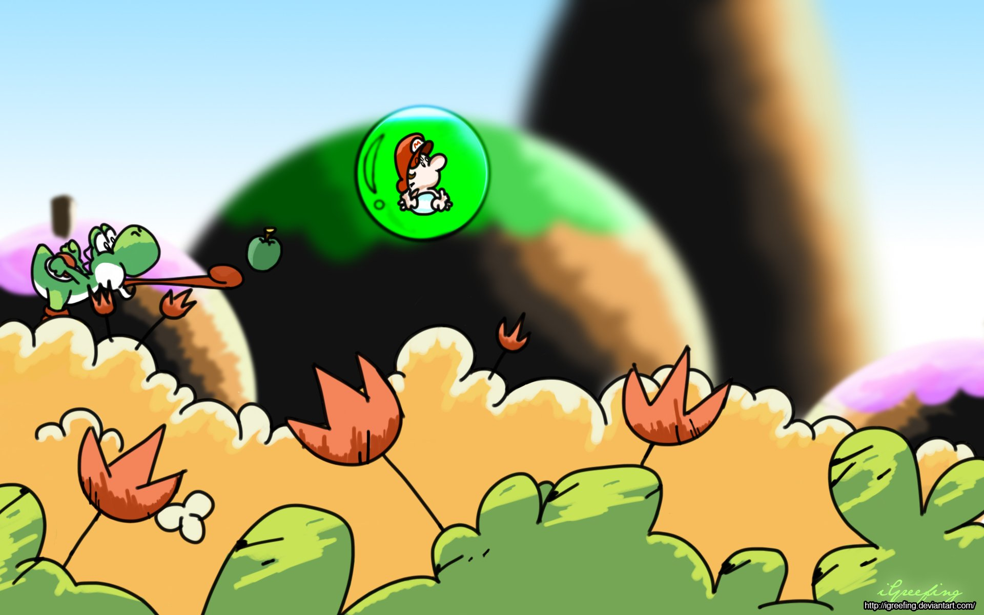 Video Game - Super Mario World 2: Yoshi's Island  Yoshi Baby Mario Wallpaper