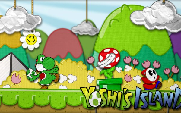 Jeux Vidéo Super Mario World 2: Yoshi's Island Mario Yoshi Piranha Plant Shy Guy Fond d'écran HD | Arrière-Plan