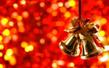 Holiday Christmas Bell Red Christmas Ornaments Bokeh HD Wallpaper | Background Image