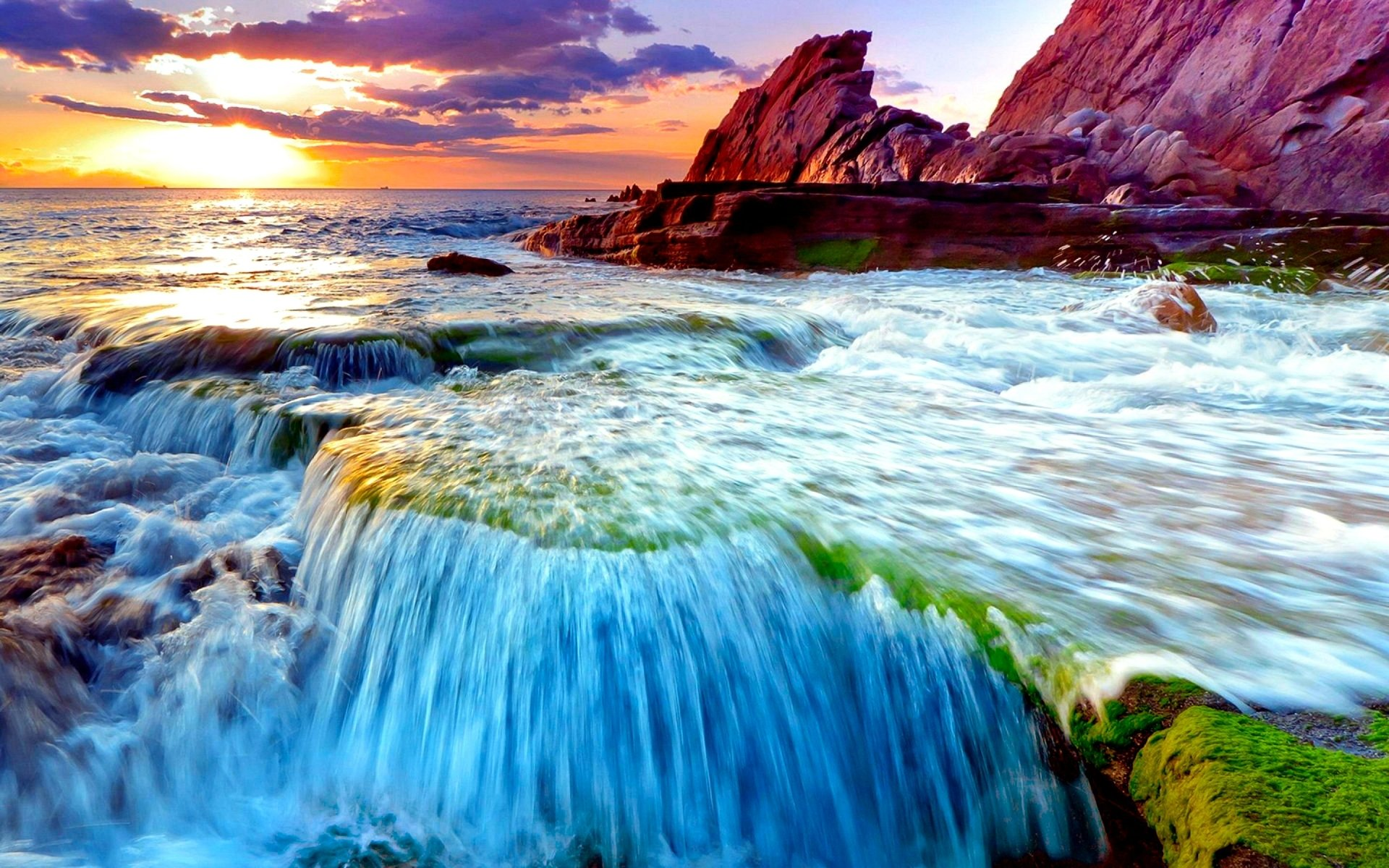 Earth - Ocean  Blue Sunset Cloud Coast Waterfall Nature Wallpaper