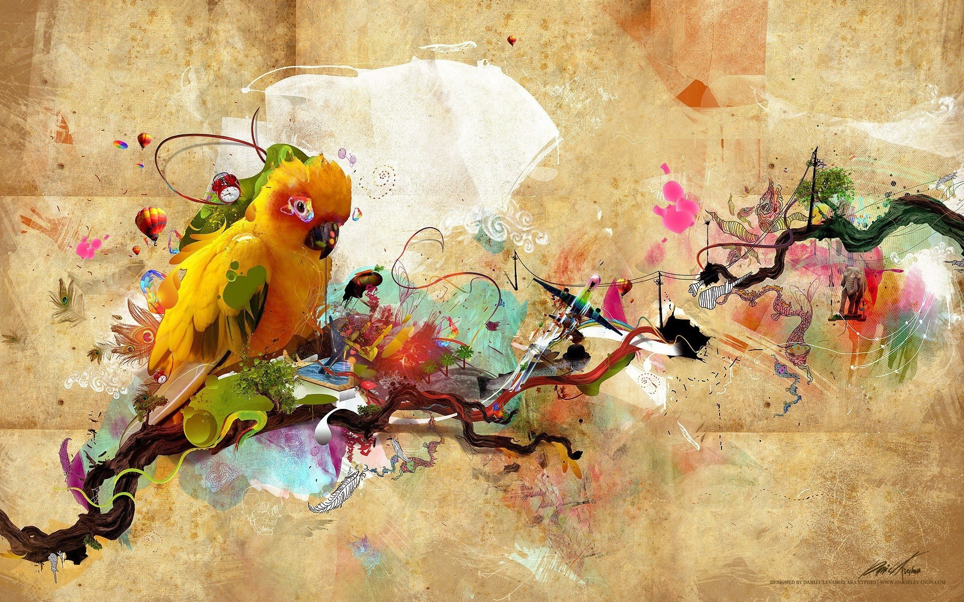 Animal - Artistic  Bird Parrot Animal Colorful Colors Wallpaper