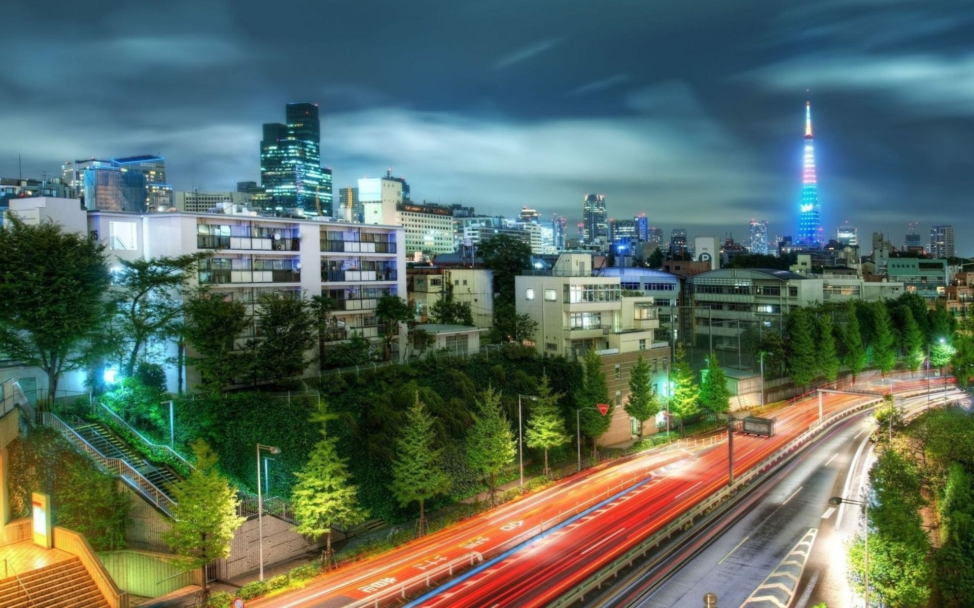 Photography - HDR  Road City Tokyo Japan Building Tree Stairs Time-Lapse Wallpaper